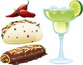 pic of mexican food  - Illustrations of different mexican food icons and a margarita - JPG