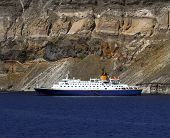 image of hydrofoil  - Small cruise ship of the coast of Santorini Greece - JPG