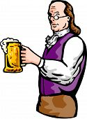 Benjamin Franklin with beer mug