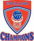 stock photo of netball  - illustration of a netball ball and net hoop set inside shield with words England Champions - JPG