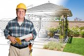 Male Contractor With House Plans Wearing Hard Hat In Front of Custom Pergola Patio Covering Drawing  poster
