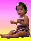 Cute Baby On Yellow And Pink poster