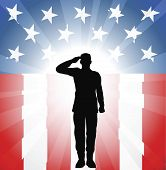 stock photo of salute  - A patriotic soldier saluting in front of an American background - JPG