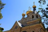 pic of church mary magdalene  - Russian Orthodox church of Mary Magdalene at the Mount of Olives in Jerusalem - JPG