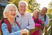 Portrait Of Senior Friends Hiking In Countryside poster