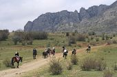 stock photo of open grazing area  - The group of horsemen going to mountains - JPG