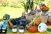stock photo of cornicopia  - roadside fruit and vegetable stand with preserves