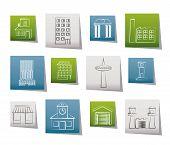 Постер, плакат: различные виды здания и города иконы