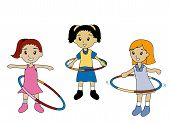 image of hula hoop  - Illustration of Kids playing hula hoops with Clipping Paths - JPG