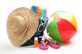 foto of beach-ball  - Beach items with straw hat - JPG
