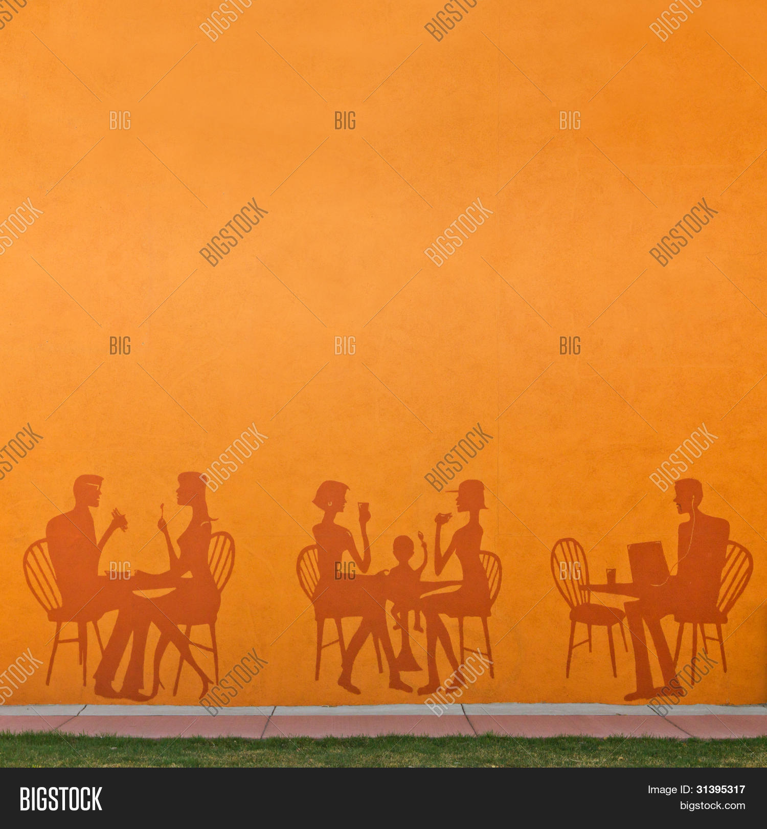 Restaurant Background With People Silhouettes People Eating Image & Photo  Bigstock