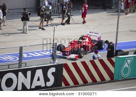 Felipe Massa exits pit area for friday practice