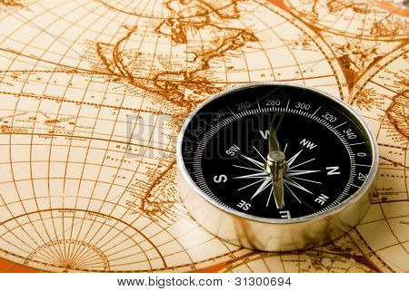 Compass Lying On A Map
