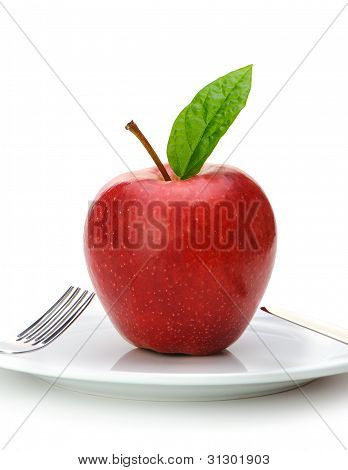 Red Apple On Plate