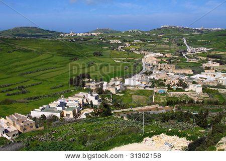 Landscape Countryside Scenery In Gozo, Malta, Mediterranean Sea