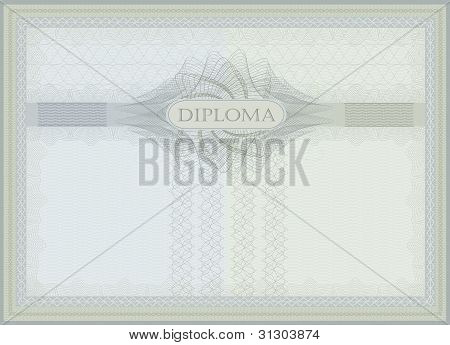 Diploma Guilloche Blue Green Raster