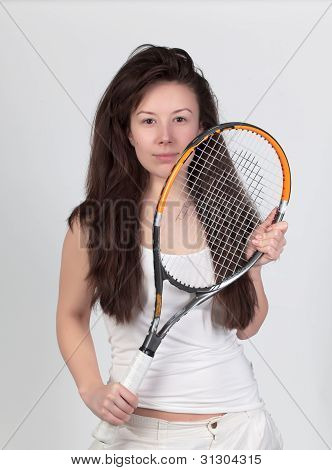 Young Woman With Tennis Racket Isolated On White