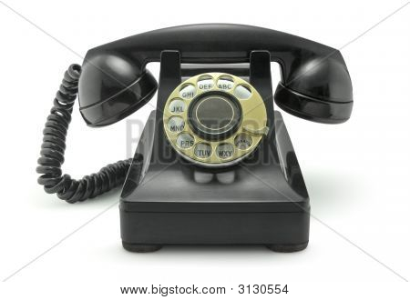 Vintage Old Phone On White