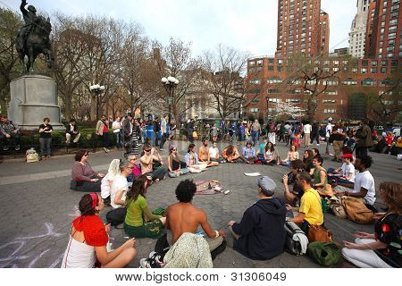 Meditating at Union Square Park