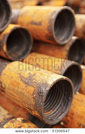 Pipe Edge In Greasing And Rust In Outdoor