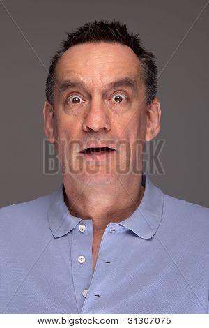 Portrait of Shocked Surprised Scared Man