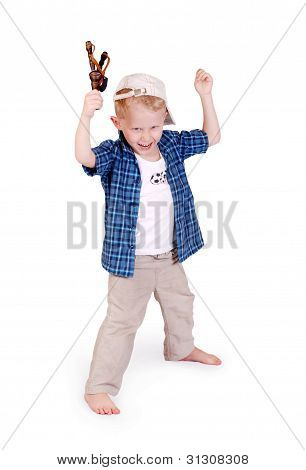 Little Boy With Slingshoot