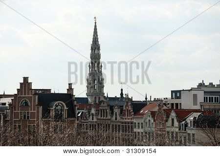 Brussels City Hall Tower Over Buildings