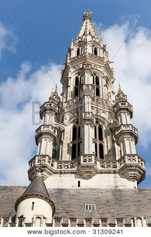 Tower Of Brussels City Hall In Telephoto Shot