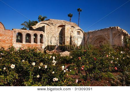 Mission San Juan Capistrano Church Ruins Rose Garden California