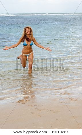 Sexy Happy Woman Run Out From Caribbean Sea