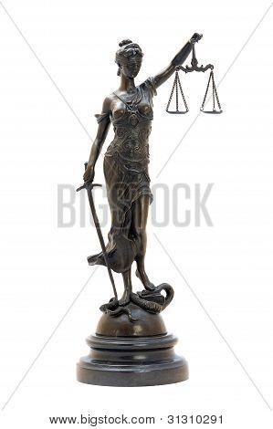 Antique Bronze Statuette Of The Goddess Themis.