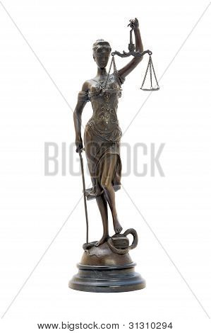 Antique Bronze Statuette Of The Goddess Themis.
