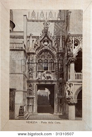 Italy - Circa 1910: A Picture Printed In Italy Shows Image Of Porta Della Carta, Vintage Postcards