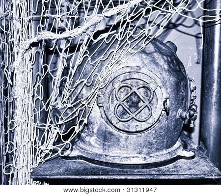 Shot of an old diving helmet