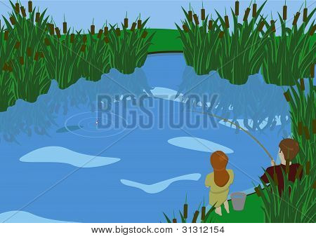 Brother and sister go fishing