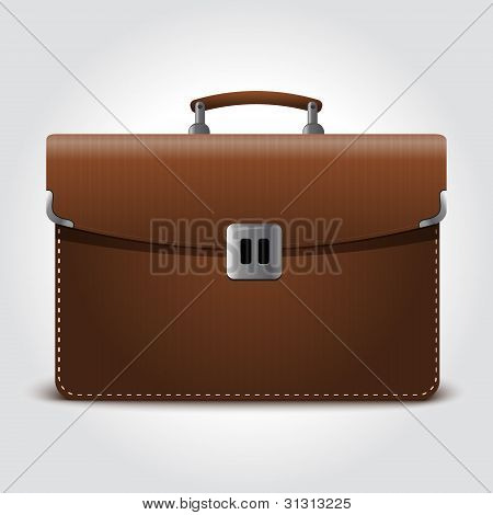 Business brown briefcase on blue