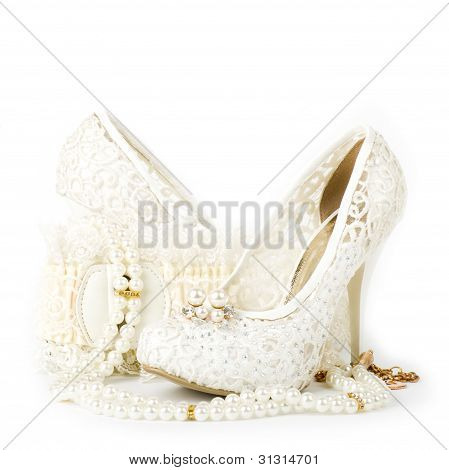 The beautiful bridal wedding shoe and beads