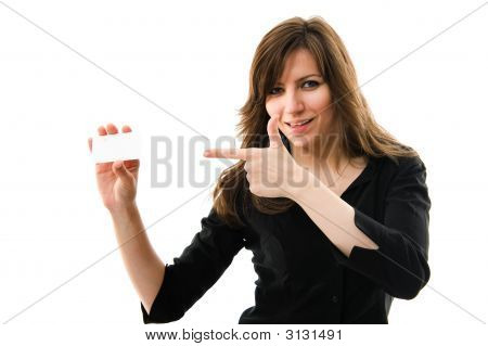 Beautiful Businesswoman Holding A White Card