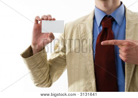 Business Man Showing His Blank.