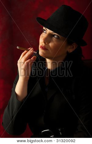 Woman Smoking And Looking Away