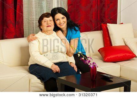 Lovely Grandma And Granddaughter Home