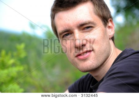Portrait Of The Beautiful Young Man Of The Outdoors