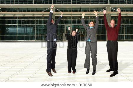 Business Diverse Team Jumping!