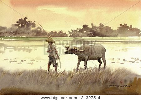 farmer and his buffalo painting