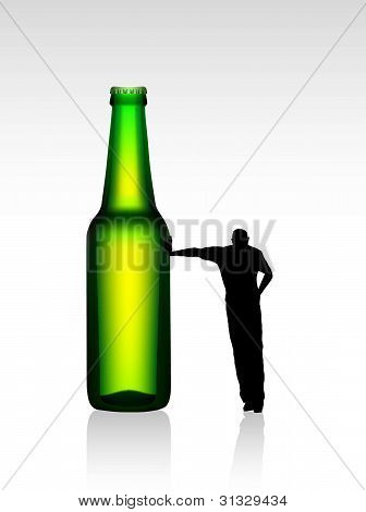 Vector Glass of Beer with Silhouette