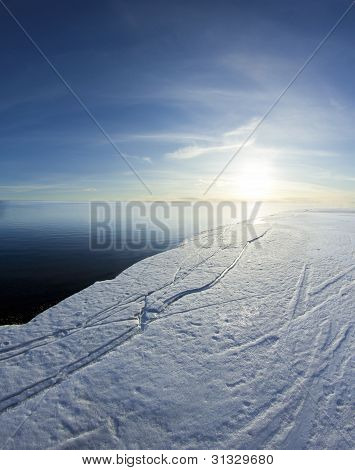 Ice Edge And Sunny Blue Sky