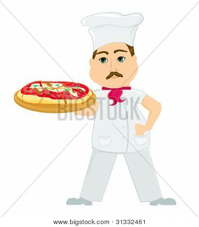 Italian chef with pizza in hand