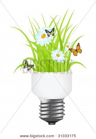 Light Bulb With Grass