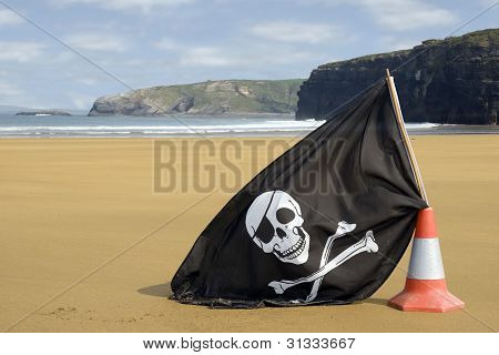 Golden Beach With Jolly Roger Flag