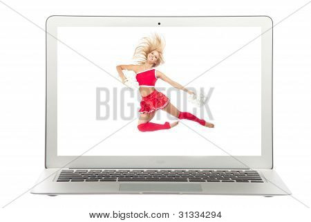 Modern Popular Laptop With Cheerleader Dancer